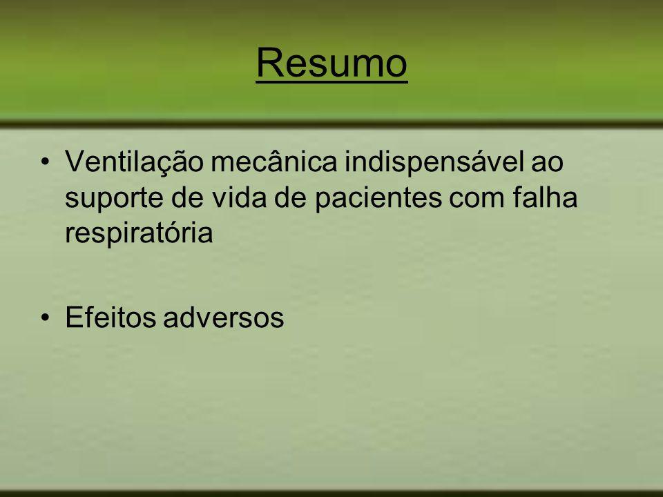 Resumo Ventilação mecânica indispensável ao suporte de vida de pacientes com falha respiratória Efeitos adversos