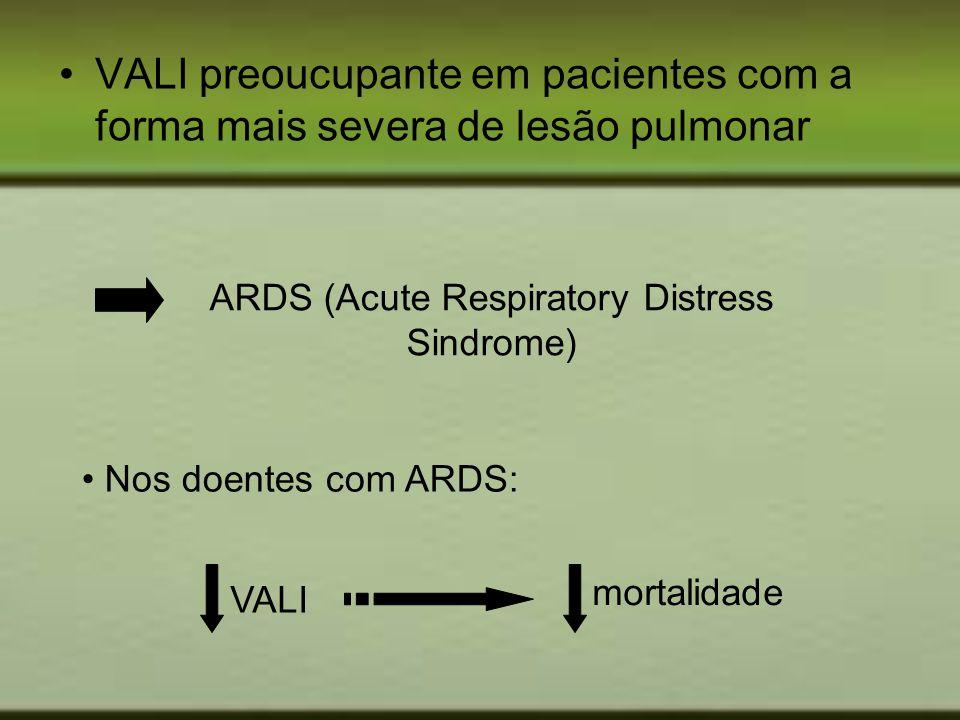 VALI preoucupante em pacientes com a forma mais severa de lesão pulmonar ARDS (Acute Respiratory Distress Sindrome) Nos doentes com ARDS: VALI mortali