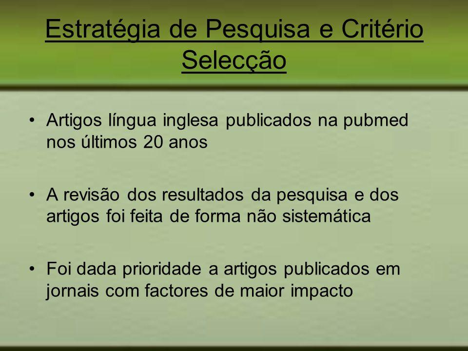 Estratégia de Pesquisa e Critério Selecção Artigos língua inglesa publicados na pubmed nos últimos 20 anos A revisão dos resultados da pesquisa e dos