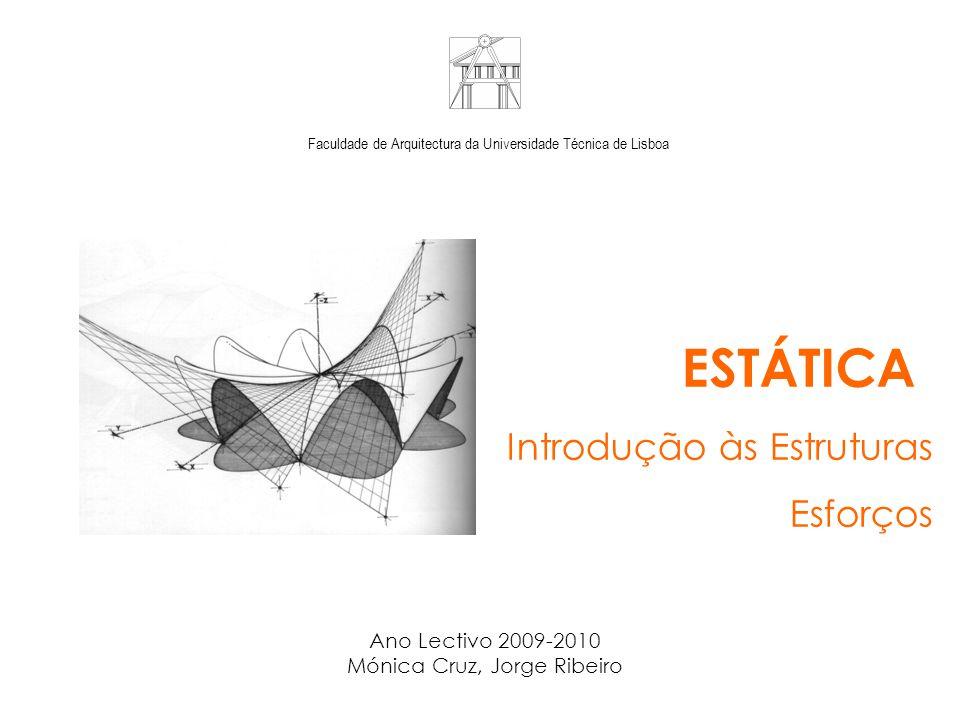 Faculdade de Arquitectura da Universidade Técnica de Lisboa ESTÁTICA Introdução às Estruturas Esforços Ano Lectivo 2009-2010 Mónica Cruz, Jorge Ribeiro