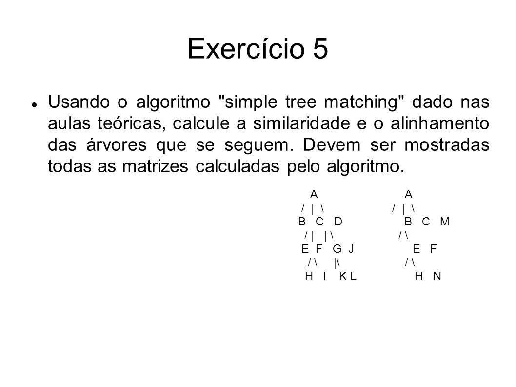 Exercício 5 Usando o algoritmo