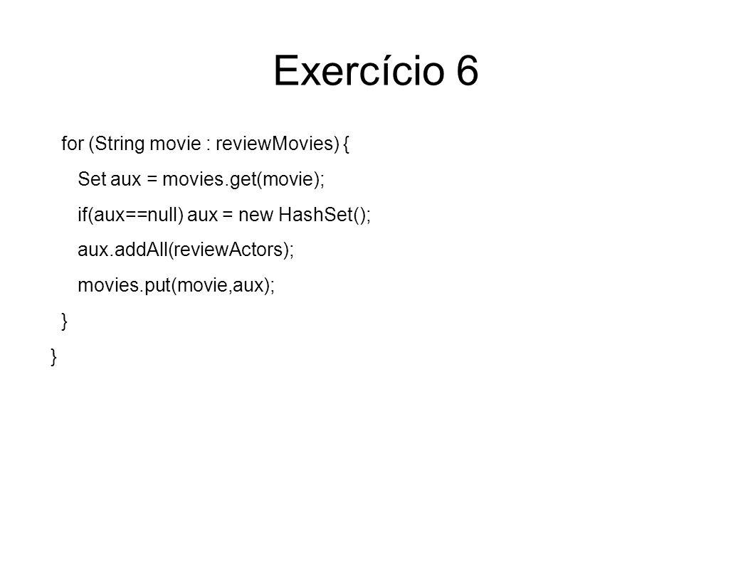 Exercício 6 for (String movie : reviewMovies) { Set aux = movies.get(movie); if(aux==null) aux = new HashSet(); aux.addAll(reviewActors); movies.put(movie,aux); }