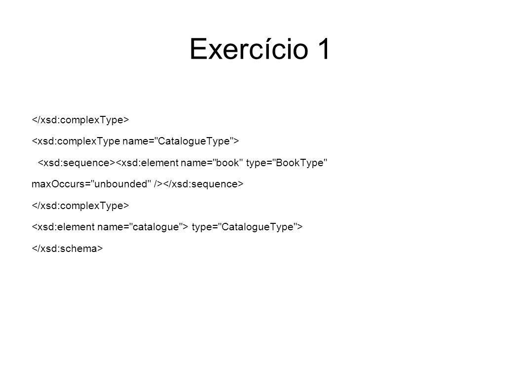 Exercício 2 Escreva em XQuery dois mapeamentos entre esquemas (views), um para cada um dos ficheiros XML referidos no Exercício 1, que produzam XML em conformidade com o schema dado como resposta.