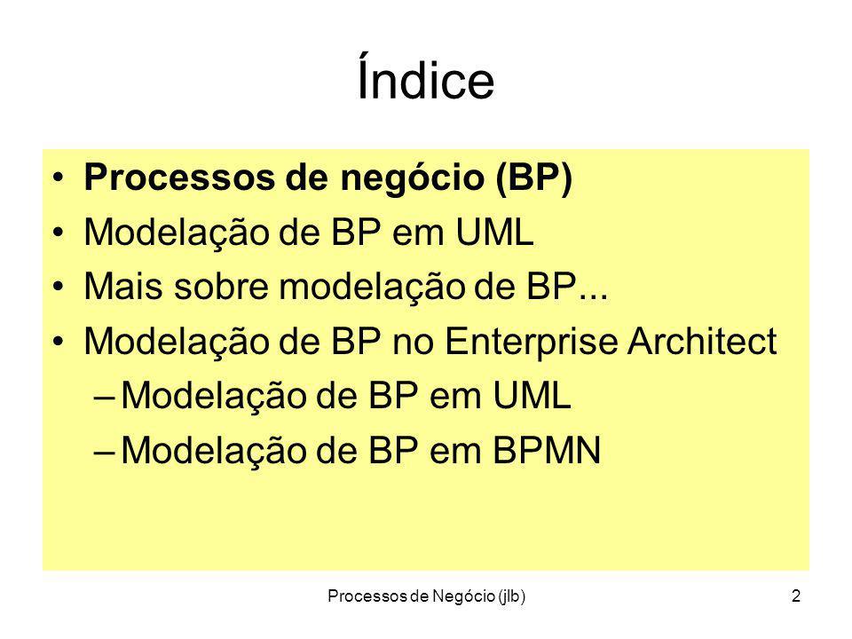 Processos de Negócio (jlb)2 Índice Processos de negócio (BP) Modelação de BP em UML Mais sobre modelação de BP...