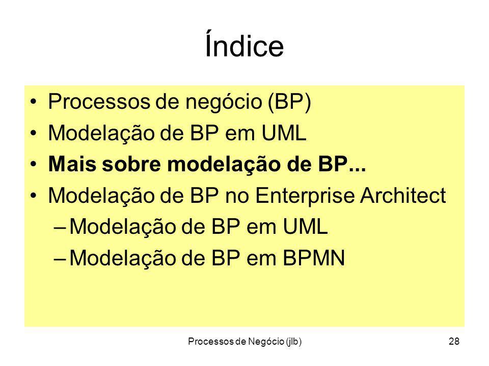 Processos de Negócio (jlb)28 Índice Processos de negócio (BP) Modelação de BP em UML Mais sobre modelação de BP...