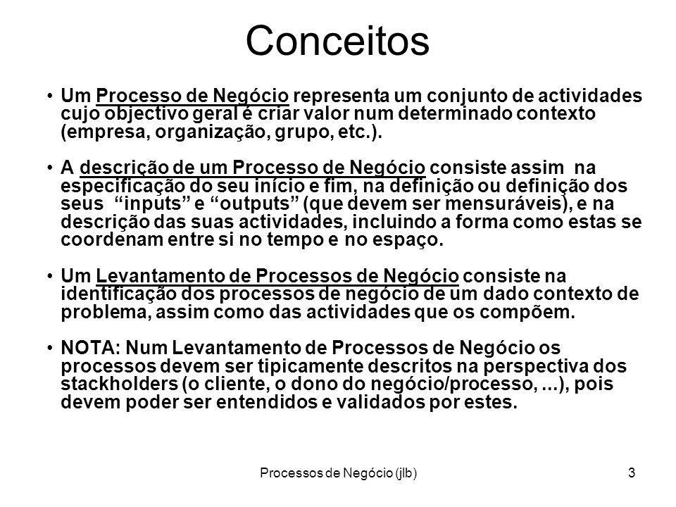 Processos de Negócio (jlb)34 BPML – Business Process Modeling Language http://en.wikipedia.org/wiki/Business_Process_Modeling_Language Business Process Modeling Language (BPML) is a meta-language for the modeling of business processes...