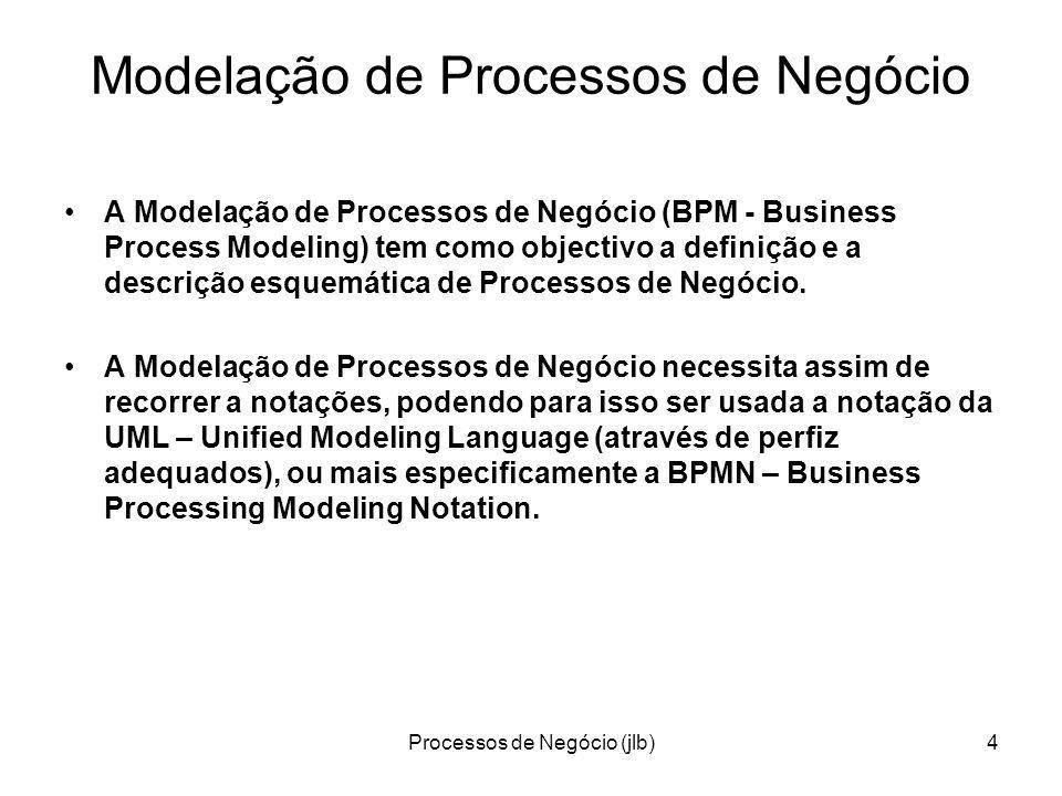 Processos de Negócio (jlb)4 Modelação de Processos de Negócio A Modelação de Processos de Negócio (BPM - Business Process Modeling) tem como objectivo a definição e a descrição esquemática de Processos de Negócio.