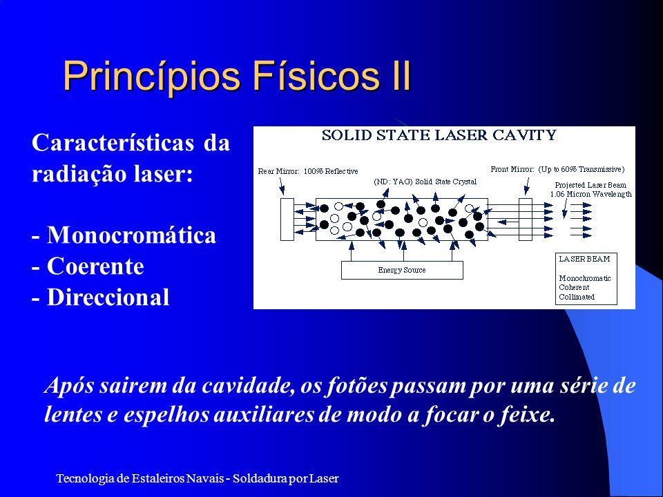 Tecnologia de Estaleiros Navais - Soldadura por Laser Princípios Físicos II Características da radiação laser: - Monocromática - Coerente - Direccional Após sairem da cavidade, os fotões passam por uma série de lentes e espelhos auxiliares de modo a focar o feixe.
