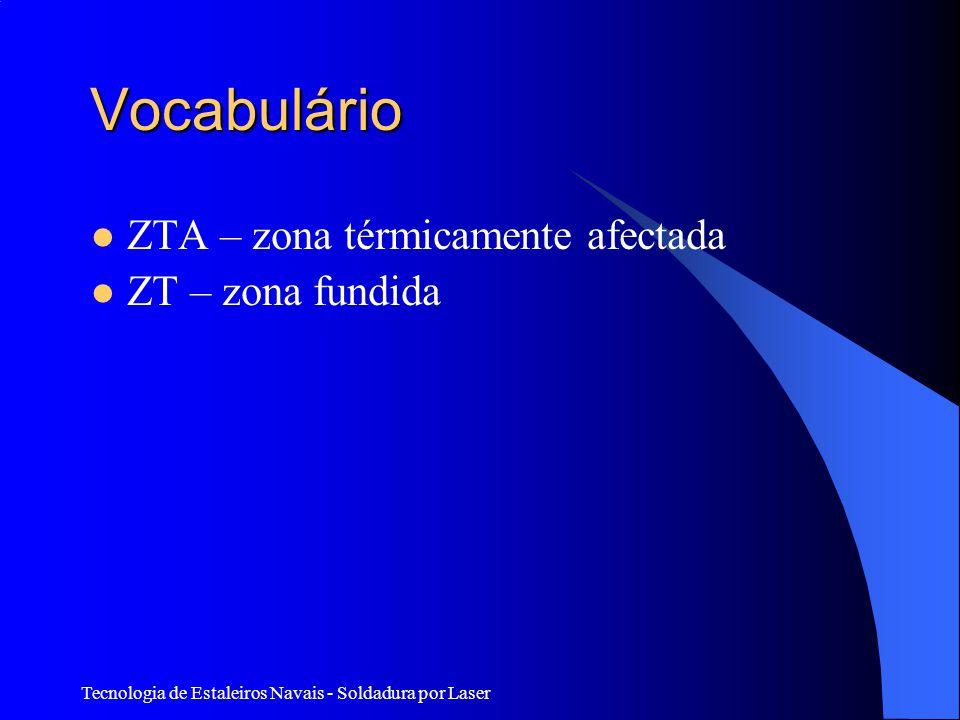 Tecnologia de Estaleiros Navais - Soldadura por Laser Vocabulário ZTA – zona térmicamente afectada ZT – zona fundida