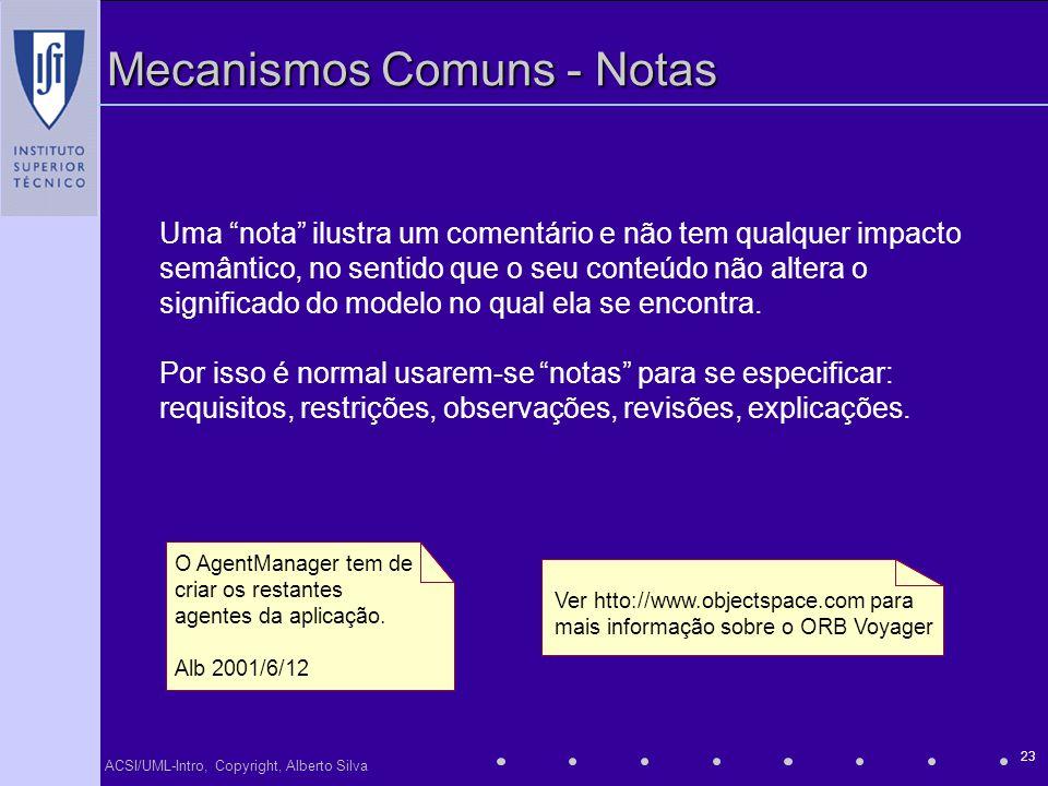 ACSI/UML-Intro, Copyright, Alberto Silva 23 Mecanismos Comuns - Notas O AgentManager tem de criar os restantes agentes da aplicação. Alb 2001/6/12 Uma