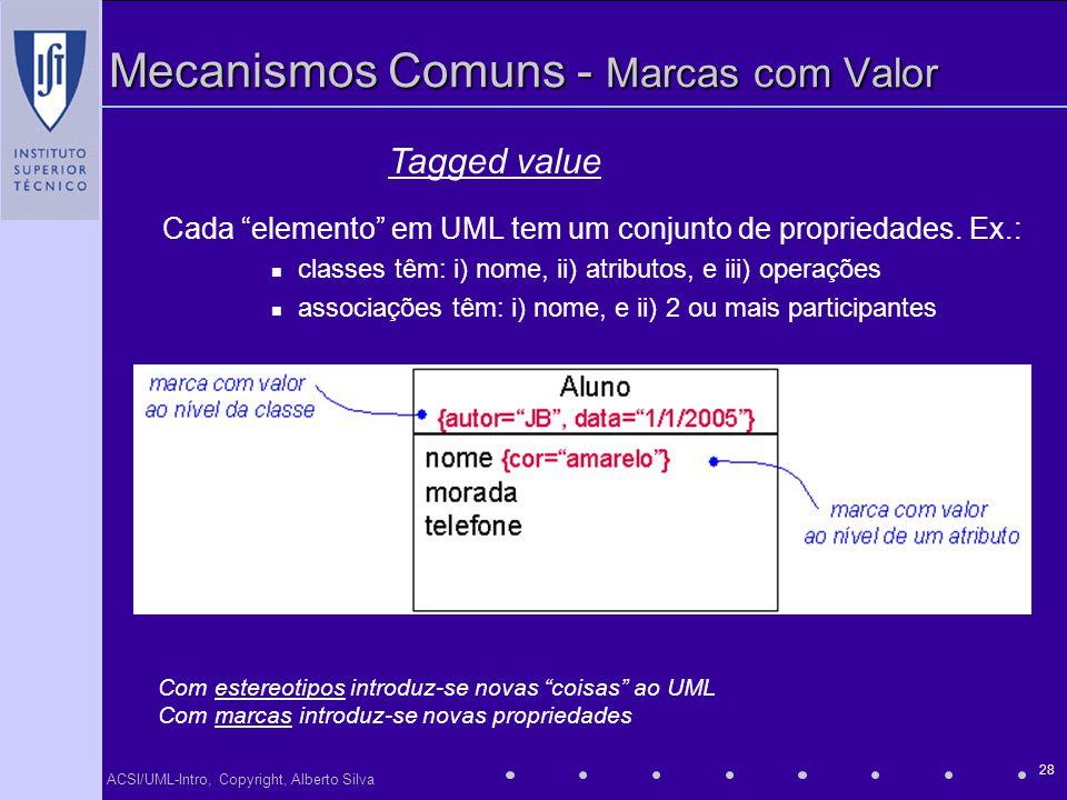 ACSI/UML-Intro, Copyright, Alberto Silva 28 Mecanismos Comuns - Marcas com Valor Cada elemento em UML tem um conjunto de propriedades. Ex.: classes tê