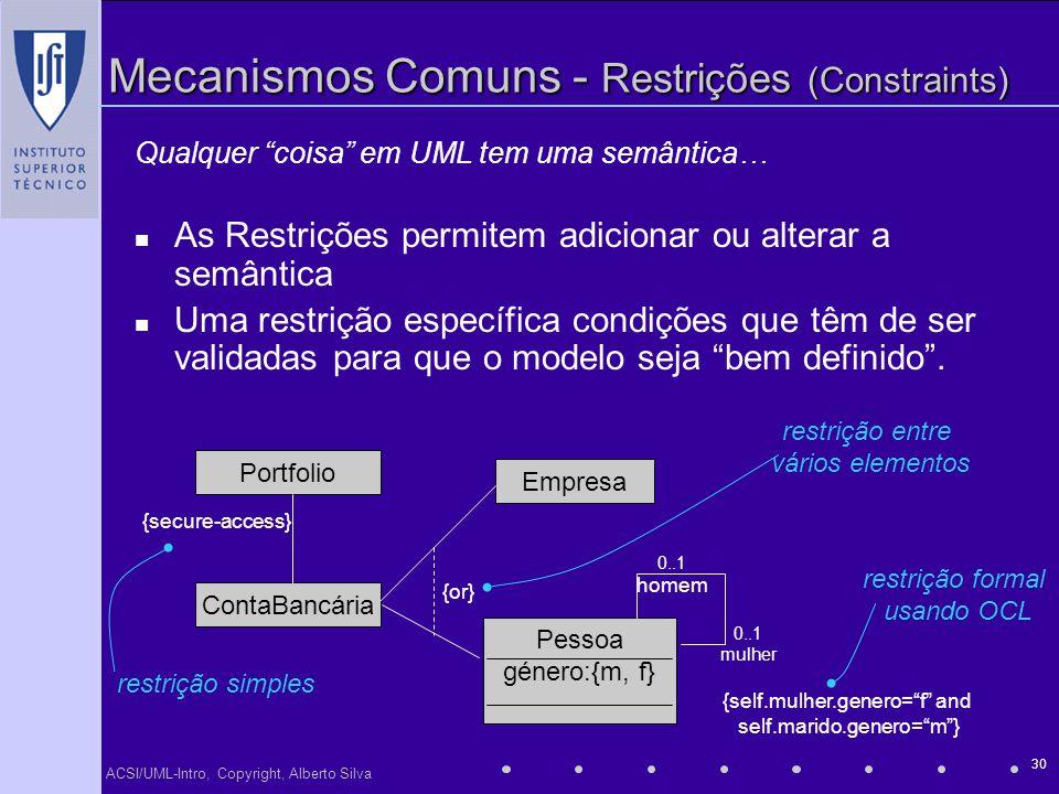 ACSI/UML-Intro, Copyright, Alberto Silva 30 Mecanismos Comuns - Restrições (Constraints) Qualquer coisa em UML tem uma semântica… As Restrições permit