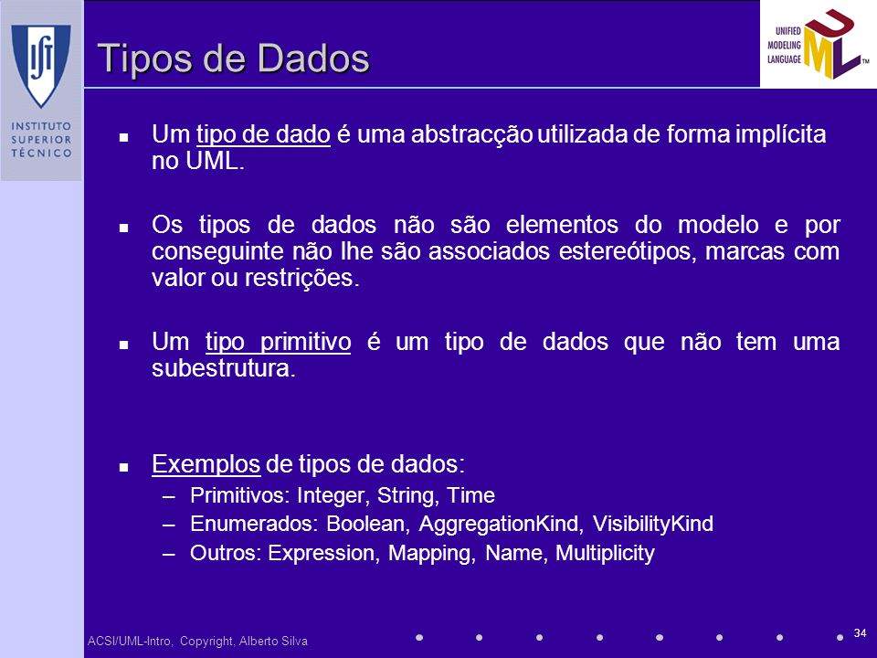 ACSI/UML-Intro, Copyright, Alberto Silva 34 Tipos de Dados Um tipo de dado é uma abstracção utilizada de forma implícita no UML. Os tipos de dados não