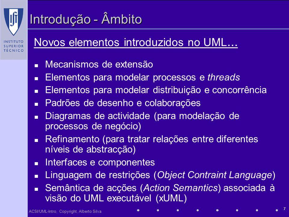 ACSI/UML-Intro, Copyright, Alberto Silva 7 Introdução - Âmbito Mecanismos de extensão Elementos para modelar processos e threads Elementos para modela