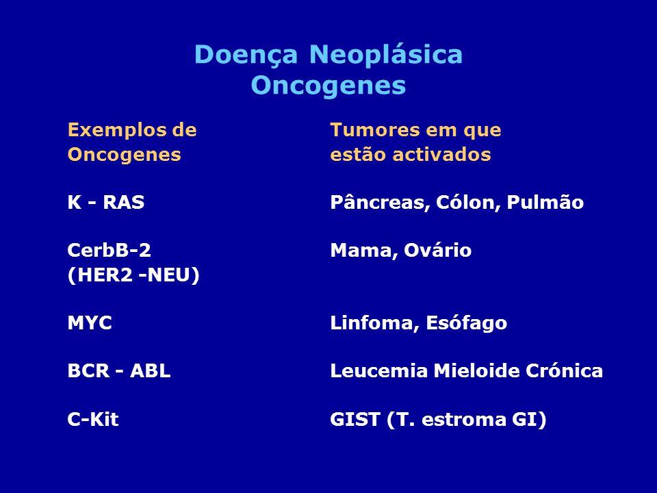 Exemplos deTumores em que Oncogenesestão activados K - RASPâncreas, Cólon, Pulmão CerbB-2 Mama, Ovário (HER2 -NEU) MYCLinfoma, Esófago BCR - ABL Leuce