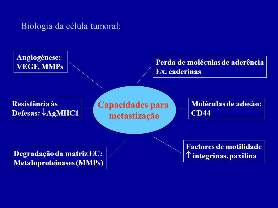 Biologia da célula tumoral: Capacidades para metastização Perda de moléculas de aderência Ex. caderinas Factores de motilidade integrinas, paxilina De
