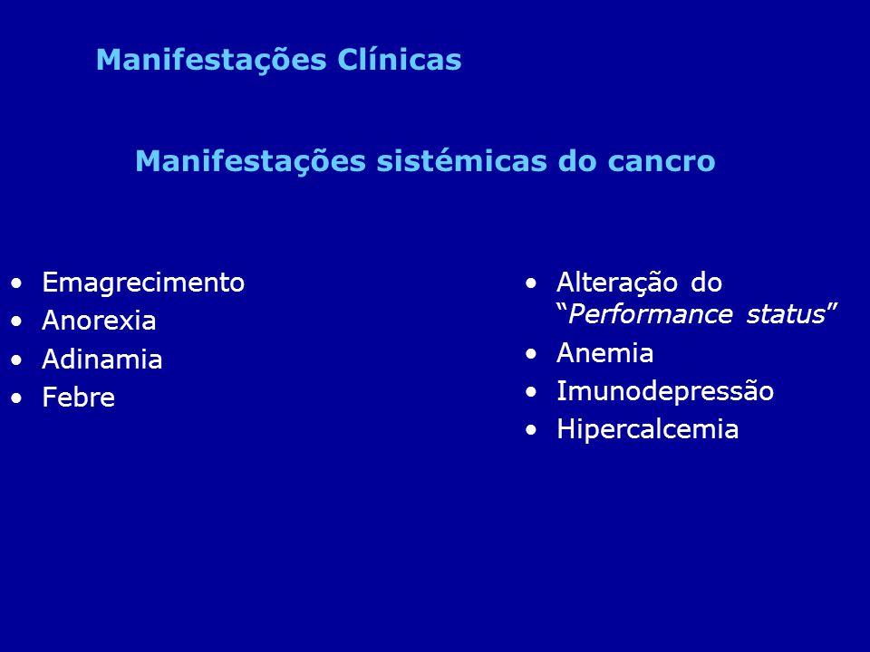 Emagrecimento Anorexia Adinamia Febre Alteração doPerformance status Anemia Imunodepressão Hipercalcemia Manifestações sistémicas do cancro Manifestaç