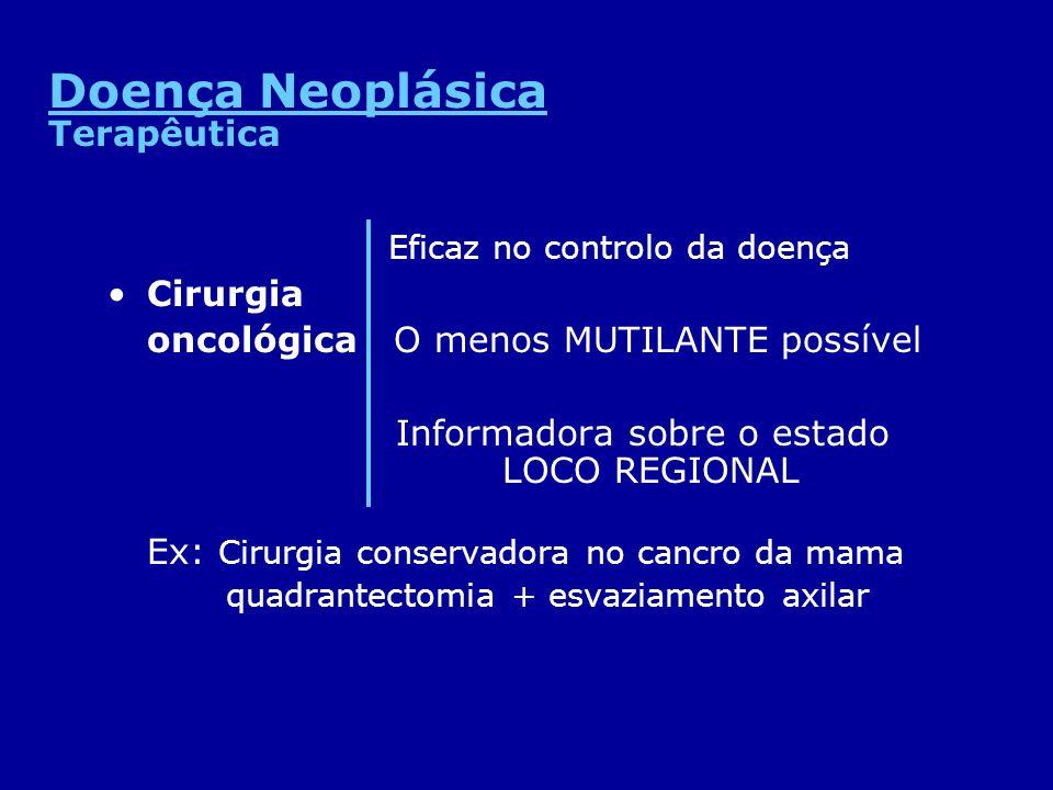 Eficaz no controlo da doença Cirurgia oncológica O menos MUTILANTE possível Informadora sobre o estado LOCO REGIONAL Ex: Cirurgia conservadora no canc