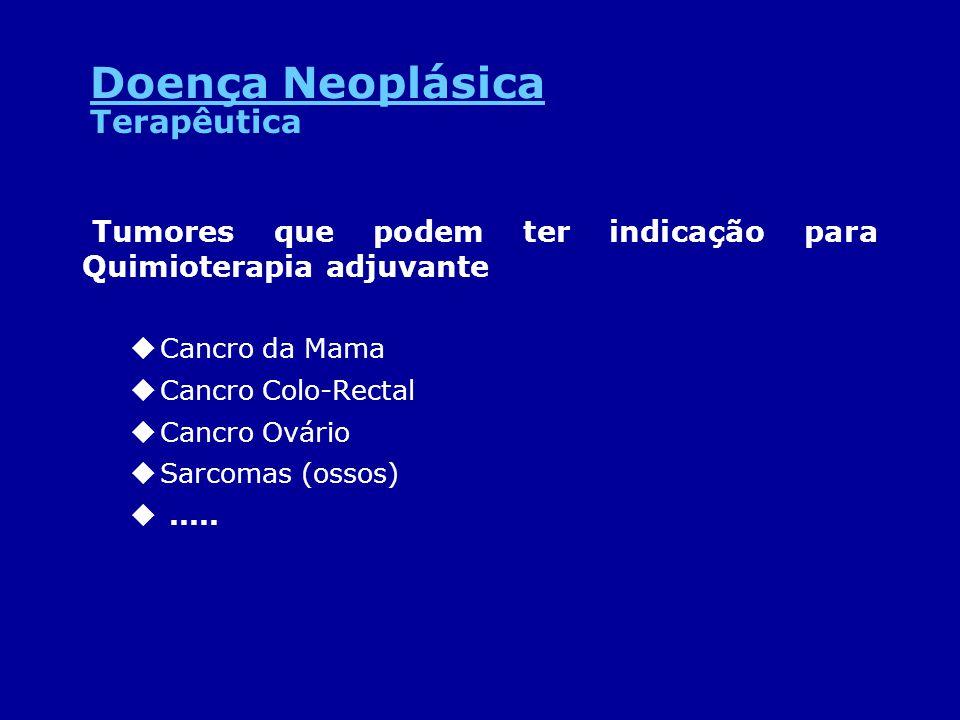 Tumores que podem ter indicação para Quimioterapia adjuvante uCancro da Mama uCancro Colo-Rectal uCancro Ovário uSarcomas (ossos) u..... Terapêutica D