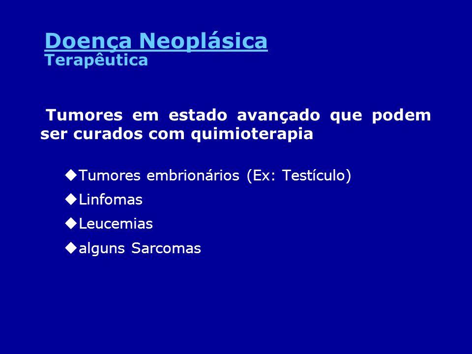 Tumores em estado avançado que podem ser curados com quimioterapia uTumores embrionários (Ex: Testículo) uLinfomas uLeucemias ualguns Sarcomas Terapêu