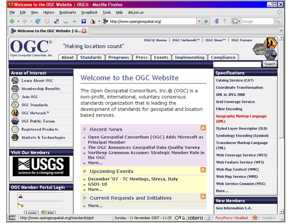 19 ISO e OGC As normas ISO TC211 standards criam as fundações......As especificações do OGC (Open Geospacial Conortium) servem de implementações de referência para essas normas.