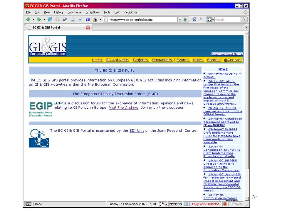 35 The EC GI & GIS portal ( http://www.ec-gis.org ) The EC GI & GIS portal provides information on European GI & GIS Activities including information on GI & GIS Activities within the the European Commission.