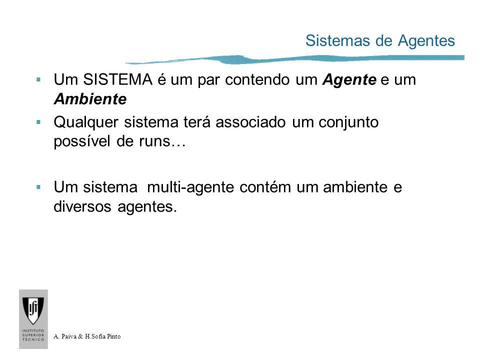 A. Paiva & H.Sofia Pinto Sistemas de Agentes Um SISTEMA é um par contendo um Agente e um Ambiente Qualquer sistema terá associado um conjunto possível