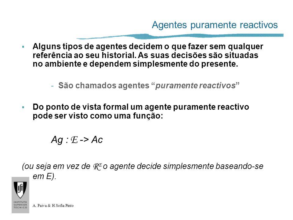 A. Paiva & H.Sofia Pinto Agentes puramente reactivos Alguns tipos de agentes decidem o que fazer sem qualquer referência ao seu historial. As suas dec