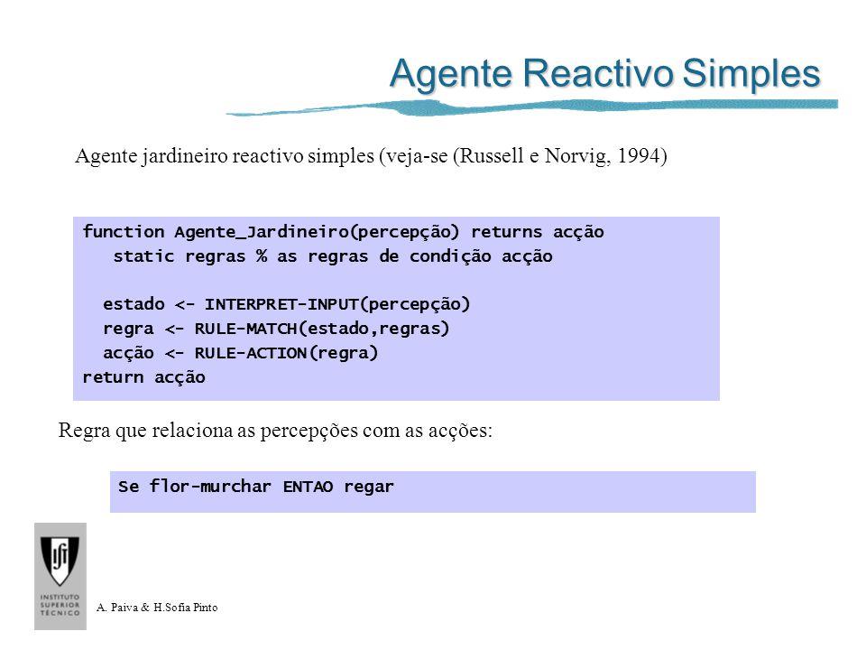 A. Paiva & H.Sofia Pinto Agente Reactivo Simples function Agente_Jardineiro(percepção) returns acção static regras % as regras de condição acção estad