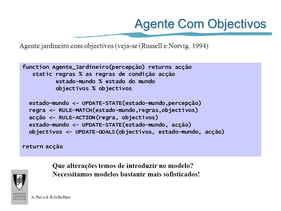 A. Paiva & H.Sofia Pinto Agente Com Objectivos function Agente_Jardineiro(percepção) returns acção static regras % as regras de condição acção estado-
