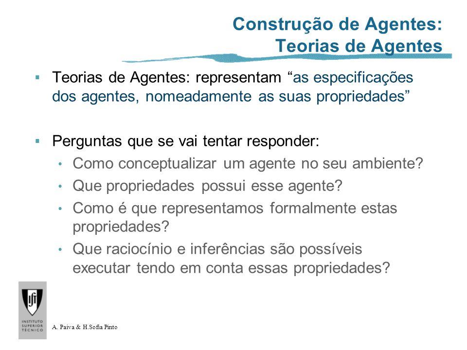 A. Paiva & H.Sofia Pinto Construção de Agentes: Teorias de Agentes Teorias de Agentes: representam as especificações dos agentes, nomeadamente as suas