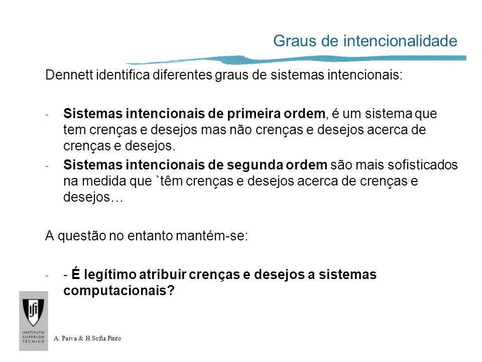 A. Paiva & H.Sofia Pinto Graus de intencionalidade Dennett identifica diferentes graus de sistemas intencionais: - Sistemas intencionais de primeira o