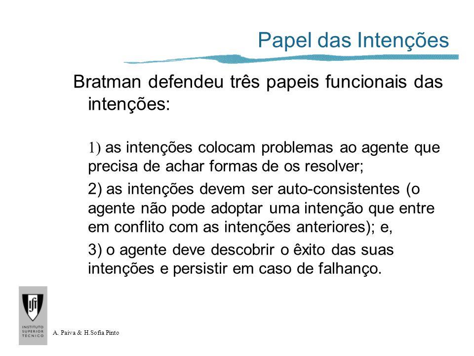 A. Paiva & H.Sofia Pinto Papel das Intenções Bratman defendeu três papeis funcionais das intenções: 1) as intenções colocam problemas ao agente que pr