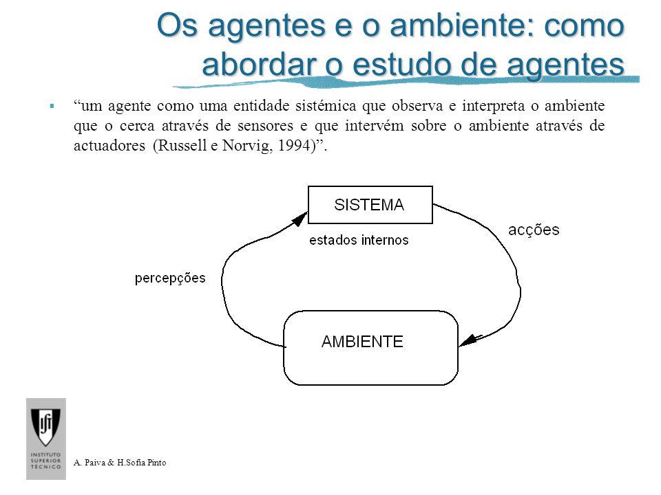 A. Paiva & H.Sofia Pinto Os agentes e o ambiente: como abordar o estudo de agentes um agente como uma entidade sistémica que observa e interpreta o am