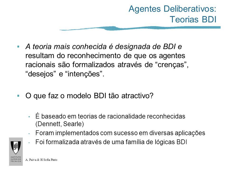 A. Paiva & H.Sofia Pinto Agentes Deliberativos: Teorias BDI A teoria mais conhecida é designada de BDI e resultam do reconhecimento de que os agentes