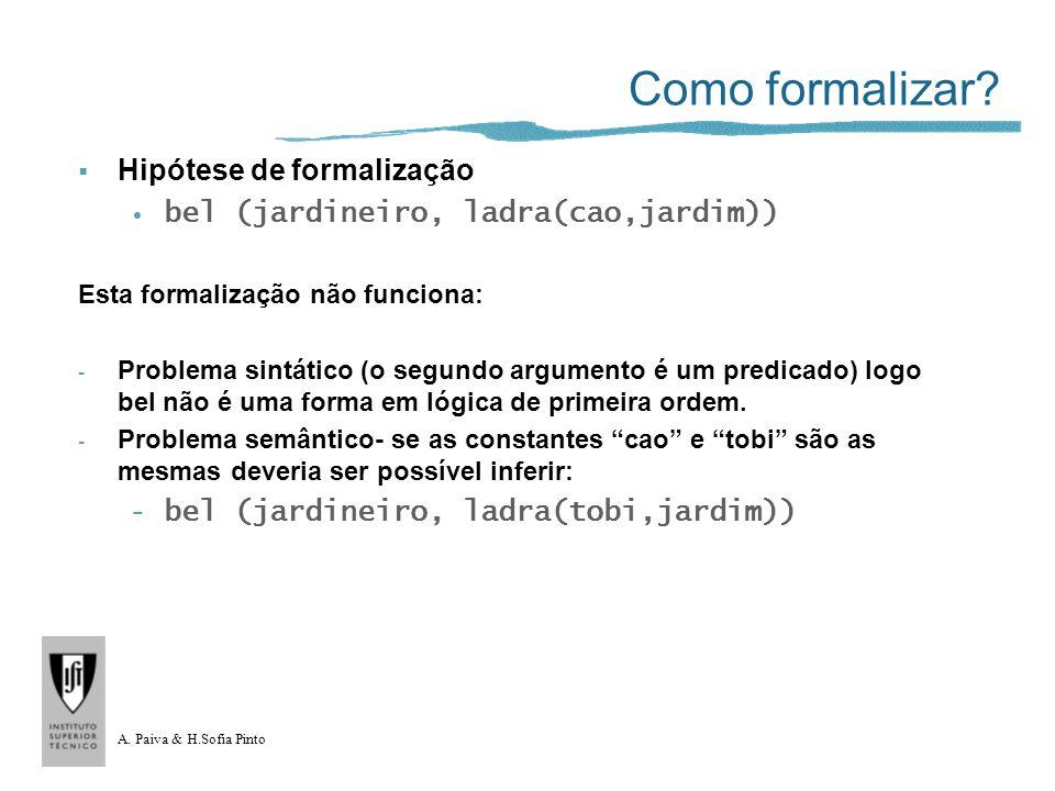 A. Paiva & H.Sofia Pinto Como formalizar? Hipótese de formalização bel (jardineiro, ladra(cao,jardim)) Esta formalização não funciona: - Problema sint