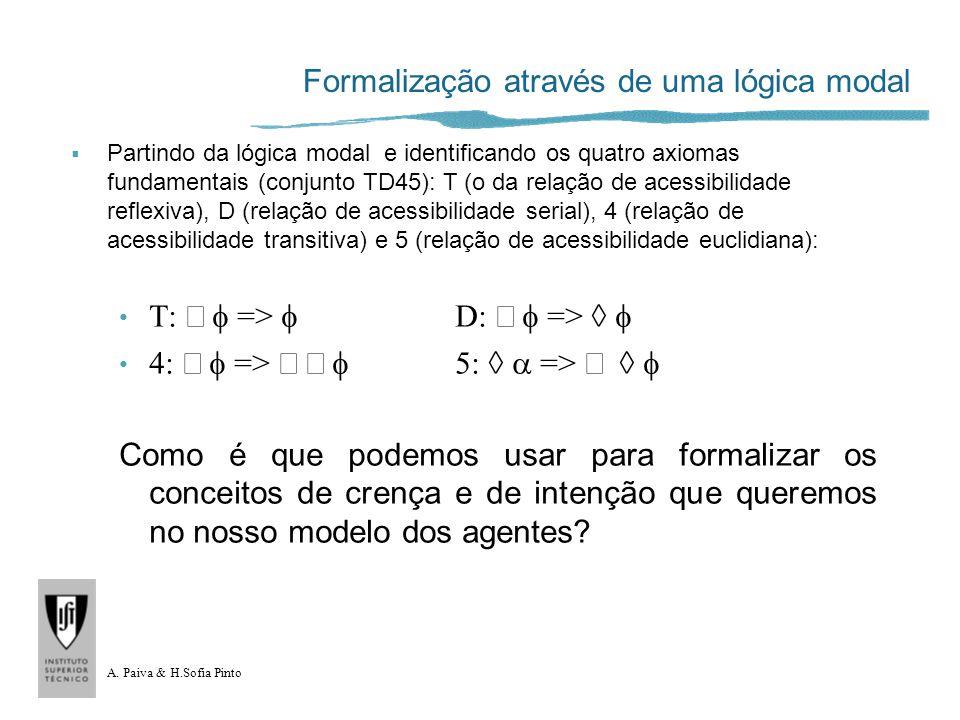 A. Paiva & H.Sofia Pinto Formalização através de uma lógica modal Partindo da lógica modal e identificando os quatro axiomas fundamentais (conjunto TD