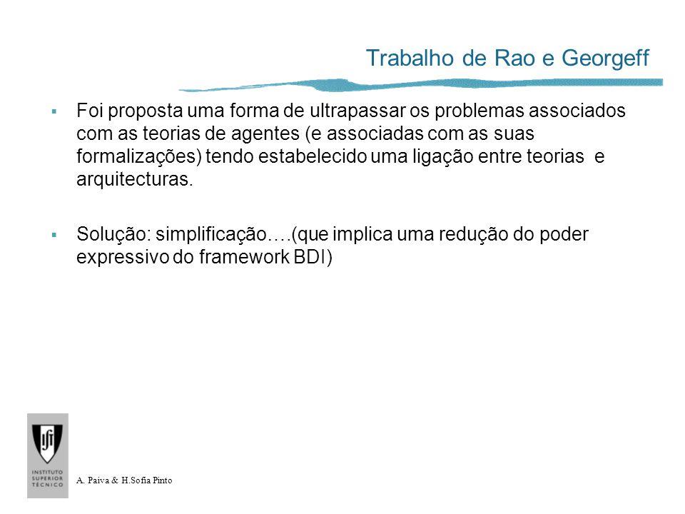 A. Paiva & H.Sofia Pinto Trabalho de Rao e Georgeff Foi proposta uma forma de ultrapassar os problemas associados com as teorias de agentes (e associa