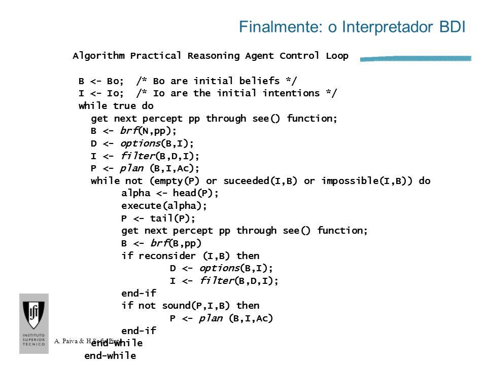 A. Paiva & H.Sofia Pinto Finalmente: o Interpretador BDI Algorithm Practical Reasoning Agent Control Loop B <- Bo; /* Bo are initial beliefs */ I <- I