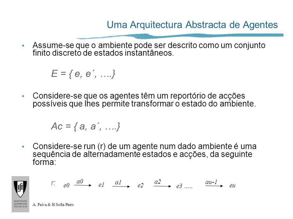 A. Paiva & H.Sofia Pinto Uma Arquitectura Abstracta de Agentes Assume-se que o ambiente pode ser descrito como um conjunto finito discreto de estados