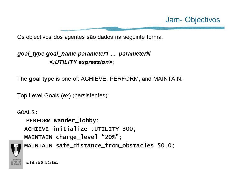 A. Paiva & H.Sofia Pinto Jam- Objectivos Os objectivos dos agentes são dados na seguinte forma: goal_type goal_name parameter1... parameterN ; The goa