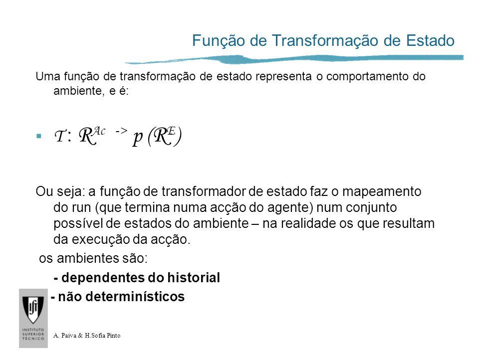 A. Paiva & H.Sofia Pinto Função de Transformação de Estado Uma função de transformação de estado representa o comportamento do ambiente, e é: T : R Ac