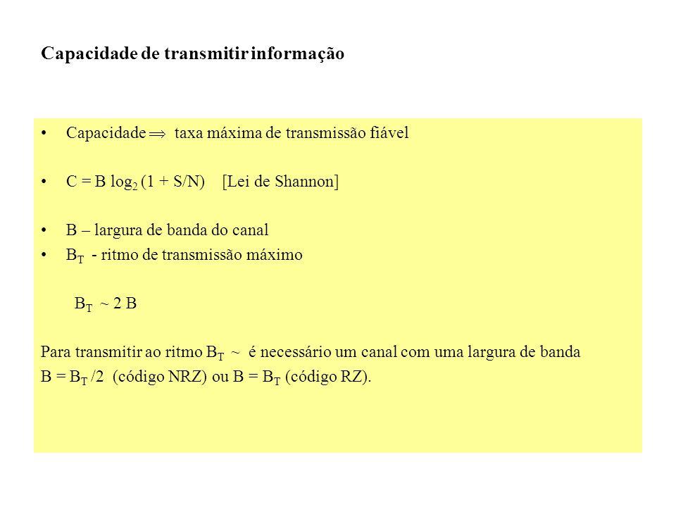 Capacidade taxa máxima de transmissão fiável C = B log 2 (1 + S/N) [Lei de Shannon] B – largura de banda do canal B T - ritmo de transmissão máximo B