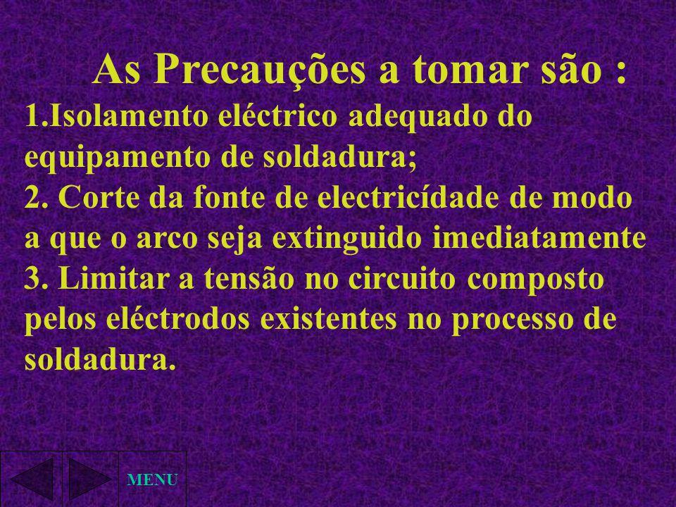 MENU As Precauções a tomar são : 1.Isolamento eléctrico adequado do equipamento de soldadura; 2. Corte da fonte de electricídade de modo a que o arco