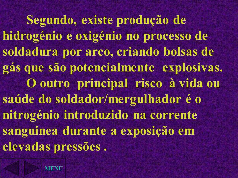MENU Segundo, existe produção de hidrogénio e oxigénio no processo de soldadura por arco, criando bolsas de gás que são potencialmente explosivas. O o