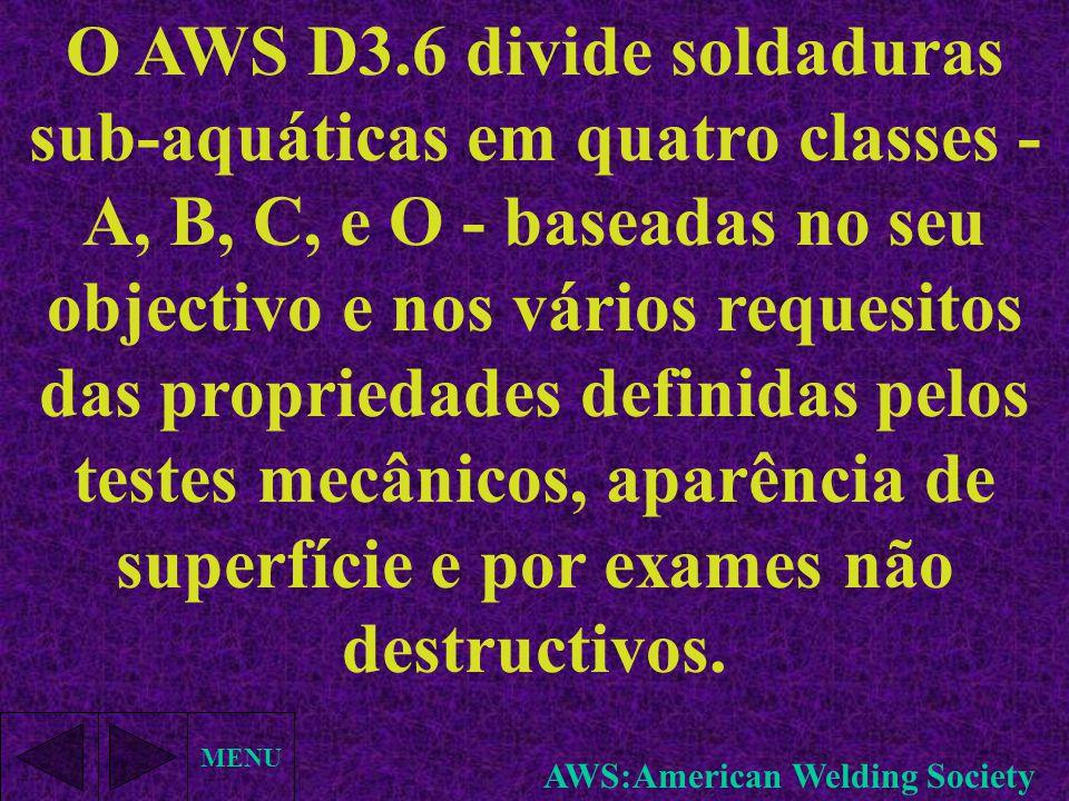 MENU O AWS D3.6 divide soldaduras sub-aquáticas em quatro classes - A, B, C, e O - baseadas no seu objectivo e nos vários requesitos das propriedades