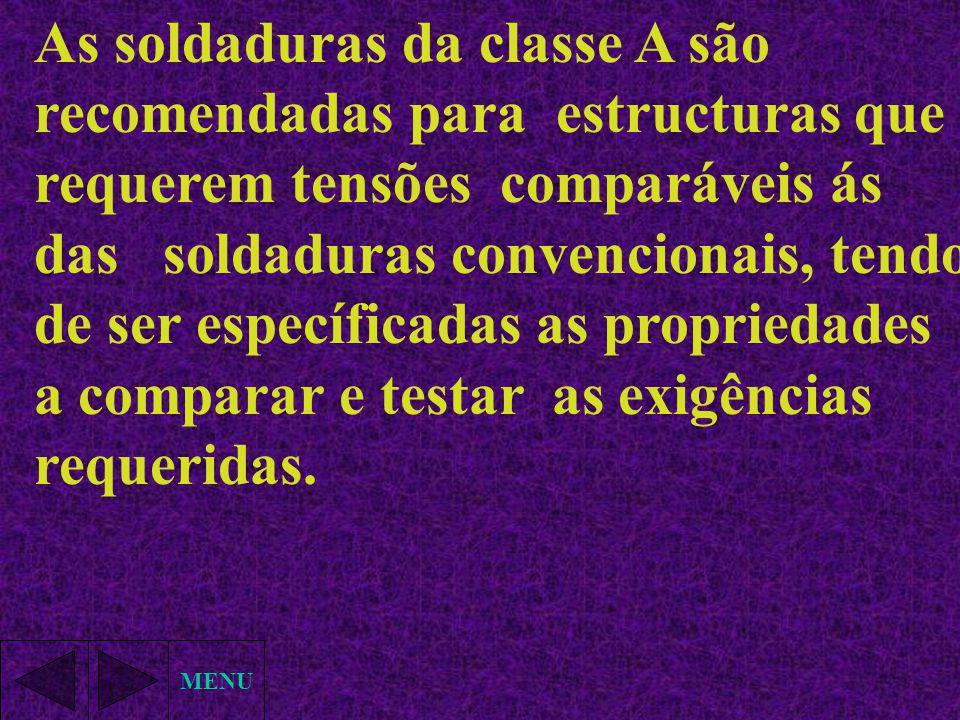 MENU As soldaduras da classe A são recomendadas para estructuras que requerem tensões comparáveis ás das soldaduras convencionais, tendo de ser especí