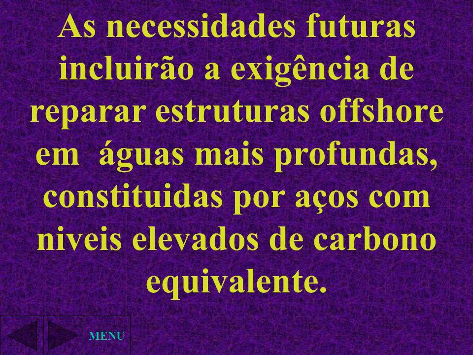 MENU As necessidades futuras incluirão a exigência de reparar estruturas offshore em águas mais profundas, constituidas por aços com niveis elevados d