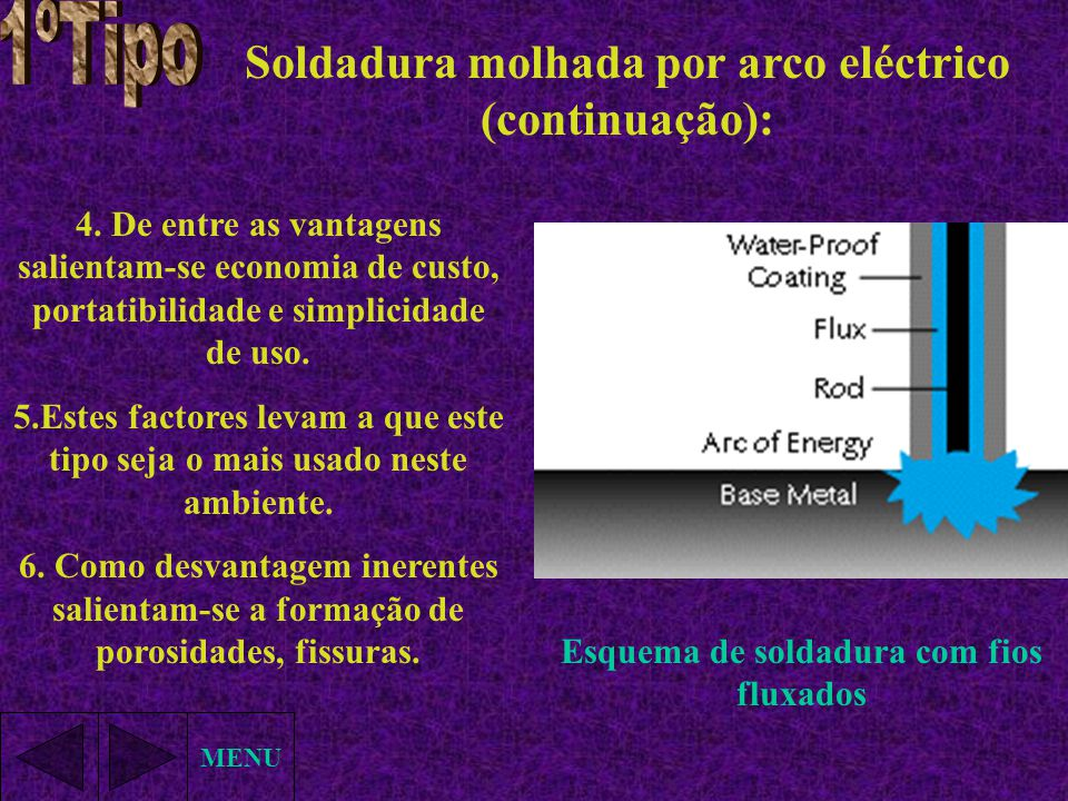 Soldadura molhada por arco eléctrico (continuação): MENU 4. De entre as vantagens salientam-se economia de custo, portatibilidade e simplicidade de us