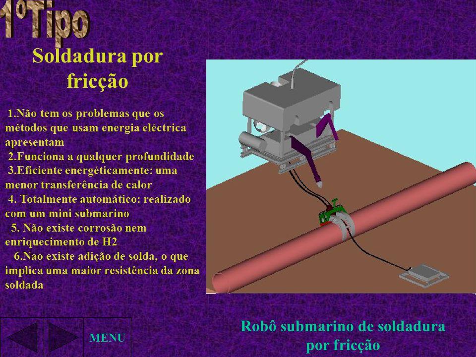 Soldadura por fricção 1.Não tem os problemas que os métodos que usam energia eléctrica apresentam 2.Funciona a qualquer profundidade 3.Eficiente energ